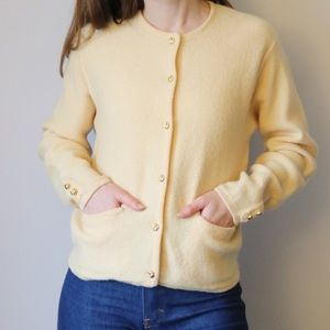Vintage Cream Sweater with Gold Buttons & Pockets